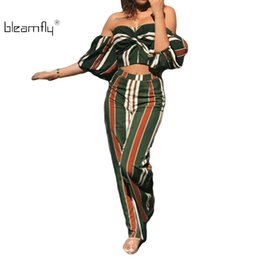 96a58f17e9b1 Striped Sexy 2 Piece Set Women Off Shoulder Strapless Crop Tops And Wide  Leg Pants Suit Casual Two Piece Summer Outfits 2018