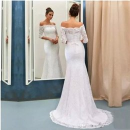 corset half sleeve wedding dress Coupons - Elegant Half Long Sleeves Off the Shoulder Full Lace Mermaid Wedding Dresses Corset Back Bridal Gowns Long Sweep Train Wedding Gowns