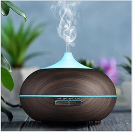 Wholesale electric home diffuser - New 300ml Wood Grain LED Lights Essential Oil Ultrasonic Air Humidifier Electric Aroma Diffuser for Office Home Bedroom Living Room Yoga Spa