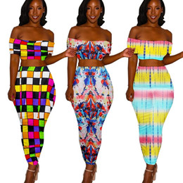0713dfc4070 Women Two Piece Sexy Maxi Dress Summer Plaid Tie Dye Print Bodycon Dress  Slash Neck Casual Backless Long Party Dresses sexy tie dye dress for sale