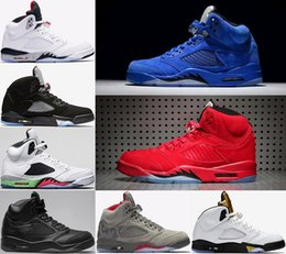 Wholesale Green Suede Boots Women - 2018 Men 5 5s Basketball Shoes Blue Red suede Olympic metallic Gold Tongue Black camo Space jam Fire Red Sport Sneakers Eur 41-47