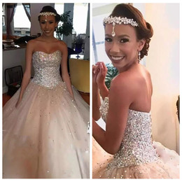 Wholesale quinceanera dresses red bling - 2018 Sweetheart Bling Bling Crystal Beaded Princess Quinceanera Dresses Ball Gowns Lace up Back Sweet 16 Dresses Tulle Prom Party Vestidos