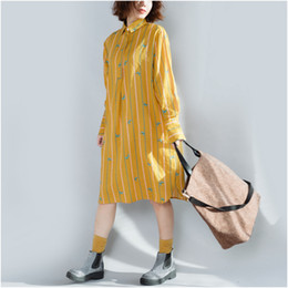 Wholesale Cute Chiffon Dresses - Autumn Spring Casual Dress for Women Loose waist Cute Dresses Long Sleeve Yellow and Black colors