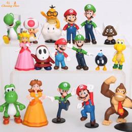 Wholesale Super Mario Action Figures Collection - PVC action figure Super Mario Bros Luigi Action Figures 18pcs set Game mario collection doll kid toys Gift OPP retail ML18