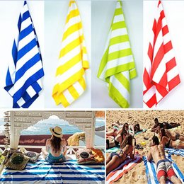Wholesale hair blanket - 76*155cm Microfiber Quick Dry Stripe Beach Towel Soft Pouch And Elastic Hook For Hanging Off Ground Beach Blanket For Camping Travel WX9-414