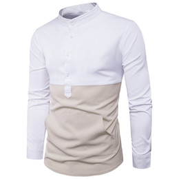 Wholesale Top Men Briefs - Korean Style Shirts Patchwork Fashion Stand Collar Male Slim Shirt Tide Man Club Blouse Men Brief Casual Tops 2018 Spring New