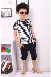 Wholesale Girl Kid Hot Pants - Free shipping New 2018 summer hot clothing sets kids pants + Top boys girls brand kids clothes children tracksuits 2-10age