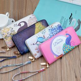 Bello telefono di progettazione online-DHL Fashion Vintage Beautiful Peacock Stampa lungo portafoglio frizione moneta portamonete Titolare della carta Borsa Nuovo Design Lady Purse 4 colori