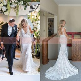 Wholesale inbal dror wedding - Sexy Full Lace Bohemian Wedding Dresses Mermaid Inbal Dror Fashion V Neck Boho Wedding Dress Open Back Sheer Bridal Gowns