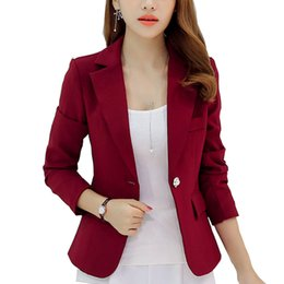 Wholesale Long Sleeved Blazer - Wholesale-New Long-sleeved Slim Women Blazers And Jackets Small Women Suit Korean Version (Gray Blue Wine Red Navy blue) Ladies Blazer