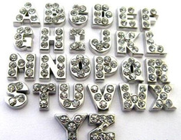 Wholesale Full Float - Wholesale 260pcs lot silver color full rhinetones letter A-Z alphabet floating locket charms beads fit for DIY Magnetic locket