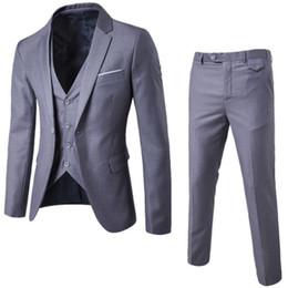 esmoquin azul cielo Rebajas 2017 nueva llegada de los hombres de negocios Traje adelgazan los hombres Trajes buenos trajes de boda de calidad para los hombres 3 piezas (chaqueta + pant + vest)