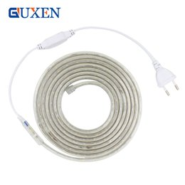 Wholesale Led Strip 6m - LED Strip 2835 AC220V Flexible Light 60leds m IP 65 Waterproof Led Light With EU Power Plug 1M 2M 3M 5M 6M 8M 9M 10M 15M 20