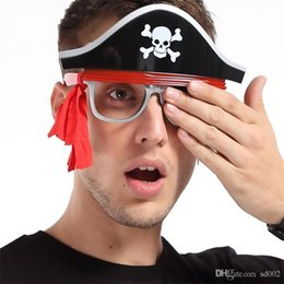Wholesale wholesale pirate party supplies - Interesting Pirate Eyeglass Novelty Gift Creative Funny Glasses Halloween Masquerade Ball Prop Party Decoration Supplies 9sf C