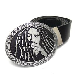 Wholesale Music Buckles - Fashion Belts for men with Music Series Jamaican Pop Music Reggae Singer Bob Marley portrait metal belt buckle cinto masculino