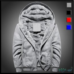 Wholesale Mens Sweaters Baseball - Mr.J Mens New Arrival Winter Plus Velvet Hooded Sweaters Casual Baseball Uniforms Slim Fit Coats 4 Colors