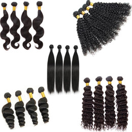 Wholesale Blonde Brazilian Weave - 7A Peruvian Indian Malaysian Cambodian Brazilian Virgin Human Hair Straight Loose Deep Body Wave Curly Hair Weave Bundles Natural Black