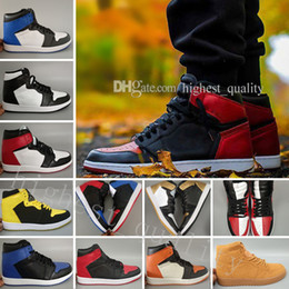 Wholesale nylon toes - Hot OG 1 Top 3 Mens Basketball Shoes Bred Toe Chicago Banned Royal Blue Fragment UNC HOMAGE TO HOME New Love City Of Flight Sneakers Sports