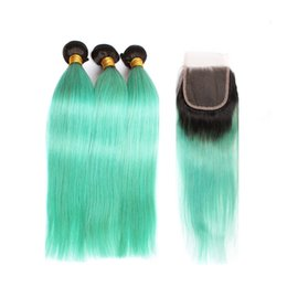 Wholesale Malaysian Hair Malaysia - Fairgreat Pre-Colored Human Hair Bundles With Closure Malaysia Peruvian Straight Human Hair 3 Bundles With Closure 1B  Green Ombre Color