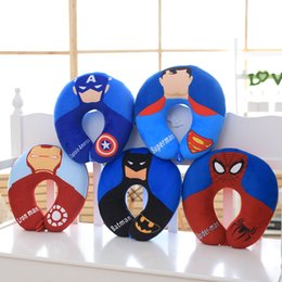 Wholesale Anime Batman Toy - Plush Anime Neck Pillow Stuffed Spiderman Batman Superman Captain America Lron Man 32*32cm Plush U Shape Kids Traveling Pillow HANCHENTE