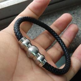 2019 черные полудрагоценные камни Мода Марка титана стали браслеты кожаный плетеный Мужские браслеты Strand