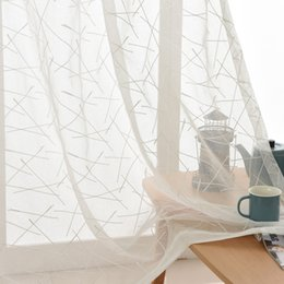 Wholesale Make Installation - New geometric white embroidery Sheer curtains for livingroom rod pocket tulle drape window sheer ready made custom size