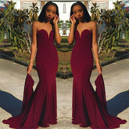 Wholesale girl melons - Hot Sell Burgundy Prom Evening Dresses Sheath Sweetheart Women Occasion Dress Black Girls Bridesmaids Gowns Cheap 2018 BA8866