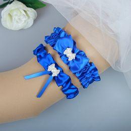 conjunto de liga de cetim Desconto Royal Blue Satin ligas nupcial Bow nupcial Leg Garter Set 2 Pcs cintas-ligas de casamento Em armazém nupcial Leg ligas baratos