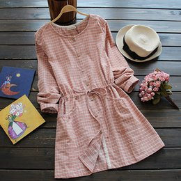 Wholesale Chiffon Plaid - Autumn spring dress for women O neck Plaid Long sleeve Lace Shirt dress Blue and Red colors