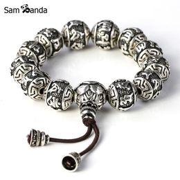 Wholesale Thai Silver Bracelets Men - Wholesale- Fine Retro Tibetan Buddhism Thai Silver Plated Rope Buddha Beads Charm Bracelets Men Six Words Mantras OM MANI PADME HUM Lotus