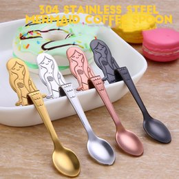 Wholesale Dining Spoons - Stainless Steel Spoon Mermaid Hanging Cup Spoon Dining & Bar Tableware Small Tea Ice Cream Sugar Cake Dessert Dinnerware Spoons Scoop