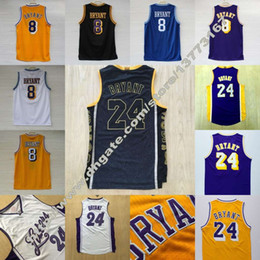 Wholesale college basketball shorts - Men's Jersey #24 Bryant Cheap 100% Stitched 8 Kobe Top Quality Basketball College Jersey Embroidery Logo Free Shipping