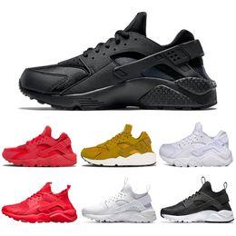 Zapatos al por mayor de los deportes de los instructores online-Venta al por mayor de Huarache 1.0 4.0 Zapatillas para hombre Mujer Triple Blanco Negro Oro Zapatillas de deporte Huaraches formadores para hombre Calzado deportivo tamaño 36-45
