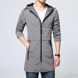 Корейский длинный плащ онлайн-2018The New Spring and Autumn Long Slim Trench Coat Men Cap Korean Fashion Youth Thin Jacket Cardigan Casual Large Size Coat Si