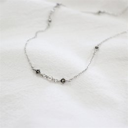 Wholesale Freshwater Black Pearl Set - 100% 925 Sterling Silver Chain Necklaces For Women Fashion Setting Freshwater Pearl Black Zircon Necklace Lovers Gifts