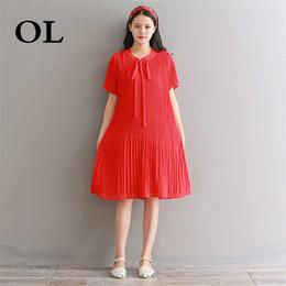 38a8bbb399  OL  Summer Women Red Cute Dress Casual Loose Chiffon Pleated Vestidos  Femininos Short Sleeve Elegant Sweet Dress H559