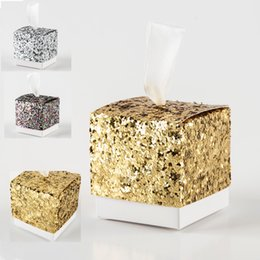 "Wholesale Silver Boxes For Wedding Favors - 2018 New Wedding Party Favors And Gifts Candy Box ""All That Glitters"" Gold Silver Bling Special Favor Box For Guest Party Decoration"