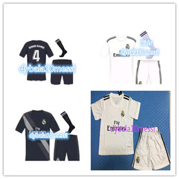 Wholesale Real Madrid Kids Soccer Jersey - factory Outlet Real madrid KIDS football jersey RONALDO Away 2018 KROOS Home white 2019 BOY RAMOS ISCO MODRIC 2019 Jerseys baby Ninos