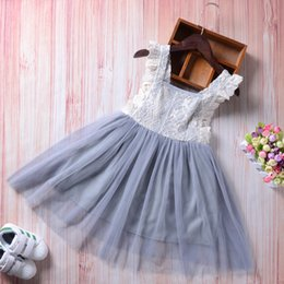 Wholesale Cute Baby Girl Chinese - New brand baby girl lace princess Tutu dress gray sleeveless sundress bowknot solid party pageant dresses cute girls clothes 2-7Y