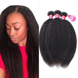 cabelo natural costurar tecido Desconto 10A Kinky Em Linha Reta Cabelo 3 Bundles Yaki Cabelo Humano Weave Não Transformados Brasileiro Virgem Remy Costurar em Extensões de Cabelo Natural Preto