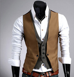 Wholesale Mens Plaid Vest - Mens Plaid Vest Fake 2 pcs Slim Fit Waistcoat Men Men's Vest Casual Sleeveless Gilet Black Korean Mens Vest Coletes Masculino