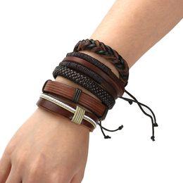 2019 bracelet style rue Toute venteBrown En Cuir Tressé Bracelet Bracelet Multi-couche Bracelet Punk Bracelet En Cuir Casual Bijoux Tressés Street Style promotion bracelet style rue