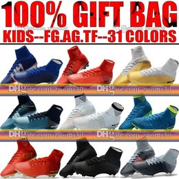 Wholesale Soft Leather Kids Shoes - New Girls Kids Soccer Cleats Mercurial Superfly CR7 Neymar V FG AG Football Boots Youth TF Indoor Ronaldo Boys Women Soccer Shoes Magista