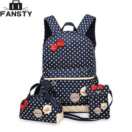 Wholesale cute pencil cases for girls - 2017 New Girl School Student Backpack Cute Bow 3 Pieces Polka Dot Crossbody Bags for Women Travel Bags Bookbag Kids Pencil Case