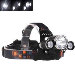 Wholesale cree led lanterns - 2018 Wholesale 5000lm CREE XML T6+2R5 LED Headlight Headlamp Head Lamp Light Flashlight 18650 Torch Camping Fishing Rechargeable Lantern