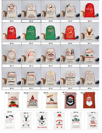 cartoons for decoration Promo Codes - Christmas gift bags santa sacks large canvas bag drawstring bag with reindeers 35 colors for kids accept mixed wholesale and free shipping