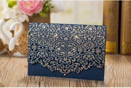 Wholesale Invitation Cards Designs - Sample Blue Laser Cut Luxury Wedding Invitations Card Elegant Gold Bow Designed Favor Wedding Event & Party Supplies with envelope