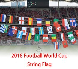 Wholesale flag logos - 2018 Russia World Cup 32 Team Flag Support OEM ODM LOGO Custom Bunting Pennants Bunting Bar Home Party Decoration Football Fans Gifts G570R