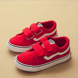 Wholesale kid s stickers - kids shoes new children s canvas 2018 white shoes men s and women s magic stickers casual shoe