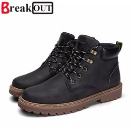 shoe broken toe Coupons - Break Out Spring Autumn Lace-Up Men's Canvas Shoes Man Buckle Casual Ankle Boots Winter Fashion Leather Shoes Mens Flats